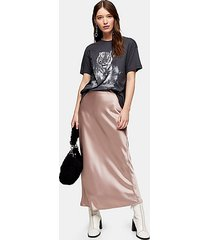 dusty pink satin bias maxi skirt - dusty pink