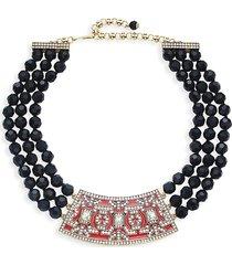 heidi daus women's goldtone & crystal beaded collar necklace