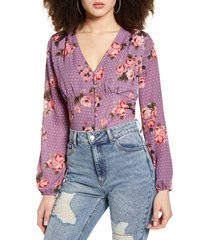 women's leith long sleeve print blouse, size x-small - purple