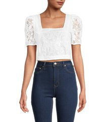 french connection women's baintana lace crop top - summer white - size 10