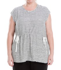 max studio women's plus striped short-sleeve knit top - grey - size 2x (18-20)