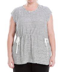 max studio women's plus striped short-sleeve knit top - grey - size 1x (14-16)