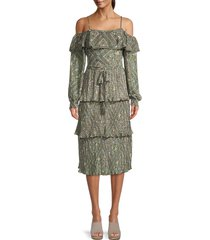 allison new york women's printed tiered pleated dress - sage - size xs