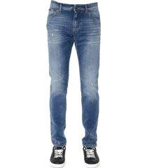 dolce & gabbana blue jeans in denim consumed effect