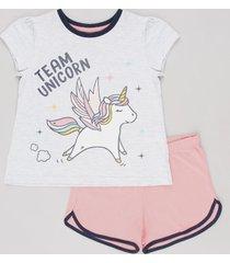 "pijama infantil ""team unicorn"" com glitter manga curta cinza mescla claro"