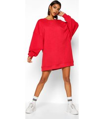 extreme oversized crew neck sweat dress, red