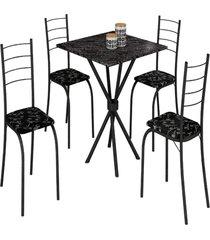 mesa com 4 cadeiras para cozinha ipanema teixeira preta
