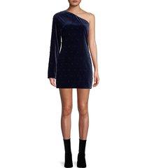 rta women's edie one-shoulder velvet mini dress - navy - size 2