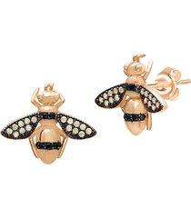 22k gold vermeil yellow & black crystal honey bee stud earrings