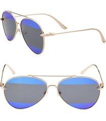 aqs women's gradient 60mm aviator sunglasses - gold