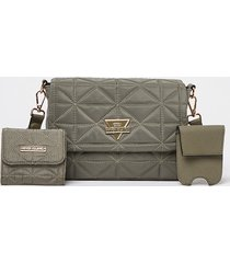 river island womens khaki front flap quilted pouch bag