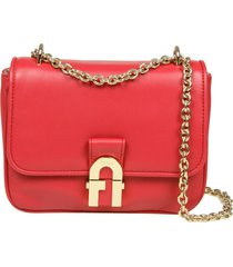 furla cosy shoulder bag in red nappa leather