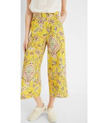 cropped culotte trousers paisley - yellow - 44