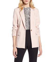 women's halogen single breasted blazer, size large - pink