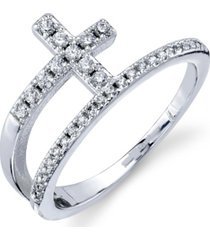 unwritten silver plated cz cross wrap around ring