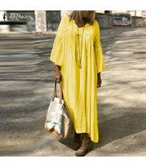 zanzea extra grande de las mujeres de la camisa ocasional maxi largo del vestido de cuello en v vestido de alas de murciélago de gran tamaño kaftan -amarillo
