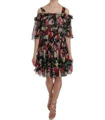 bloemen cold shoulder mini jurk