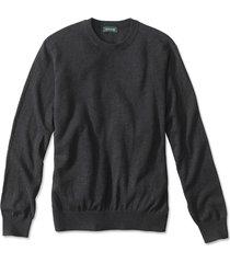 cotton/silk/cashmere crewneck sweater, charcoal, xx large