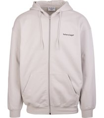 balenciaga unisex light grey and black new copyright zipped hoodie