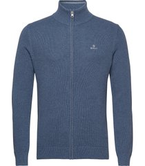 cotton pique zip cardigan stickad tröja cardigan blå gant