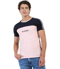 camiseta combinada azul oscuro y palo rosa manpotsherd suiza