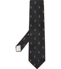 dolce & gabbana pre-owned floral-print silk tie - black
