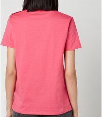 balmain women's flocked logo l t-shirt - fuchcia/noir - l