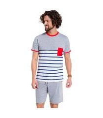 pijama manga curta masculino listrado veggi