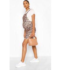 maternity leopard print pinafore dress, tan