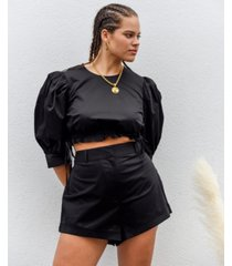 danielle bernstein high-cut solid shorts, created for macy's