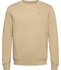 premium core r sw l\s sweat-shirt tröja beige g-star raw