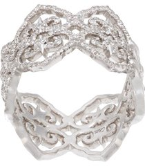 colette 18kt white gold filigree diamond ring - silver