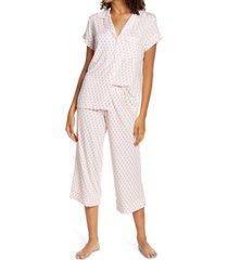 women's eberjey sleep chic crop pajamas, size small - pink