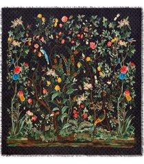 gucci gucci tian print modal silk shawl - black
