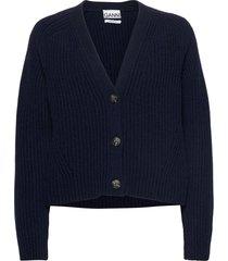 rib knit stickad tröja cardigan blå ganni