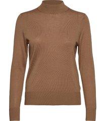 wool silk mock-nk sweater ls stickad tröja brun tommy hilfiger