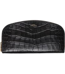 a.p.c. croco print leather wallet