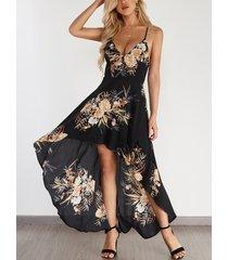 vestido halter con diseño sin espalda y estampado floral al azar negro con dobladillo alto-bajo