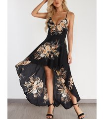 black random floral print backless design halter dress with high-low hem