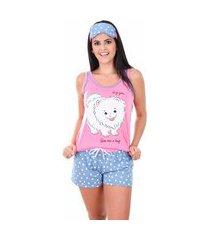 pijama curto ayron cachorrinho colorido feminino adulto malha pv