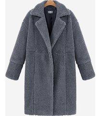 cappotti di peluche casual a maniche lunghe con risvolto in puro colore casual