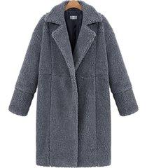 cappotti peluche da donna a maniche lunghe con risvolto a maniche lunghe color pastello