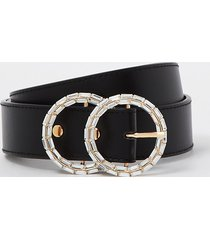 river island womens black diamante double ring belt