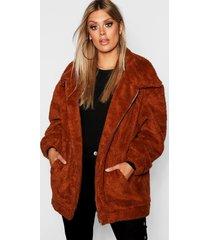 plus oversized teddy faux fur jacket, rust