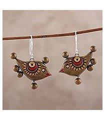 ceramic dangle earrings, 'morning birds' (india)