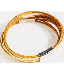 camila leather wrap bracelet - natural