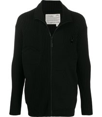 a-cold-wall* knitted zipped cardigan - black