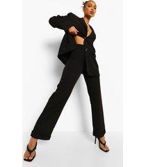 broek met rechte omgeslagen pijpen, black