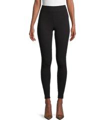 pure navy women's ribbed leggings - light heather grey - size m
