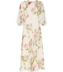 giambattista valli silk wide sleeve floral midi dress - neutrals